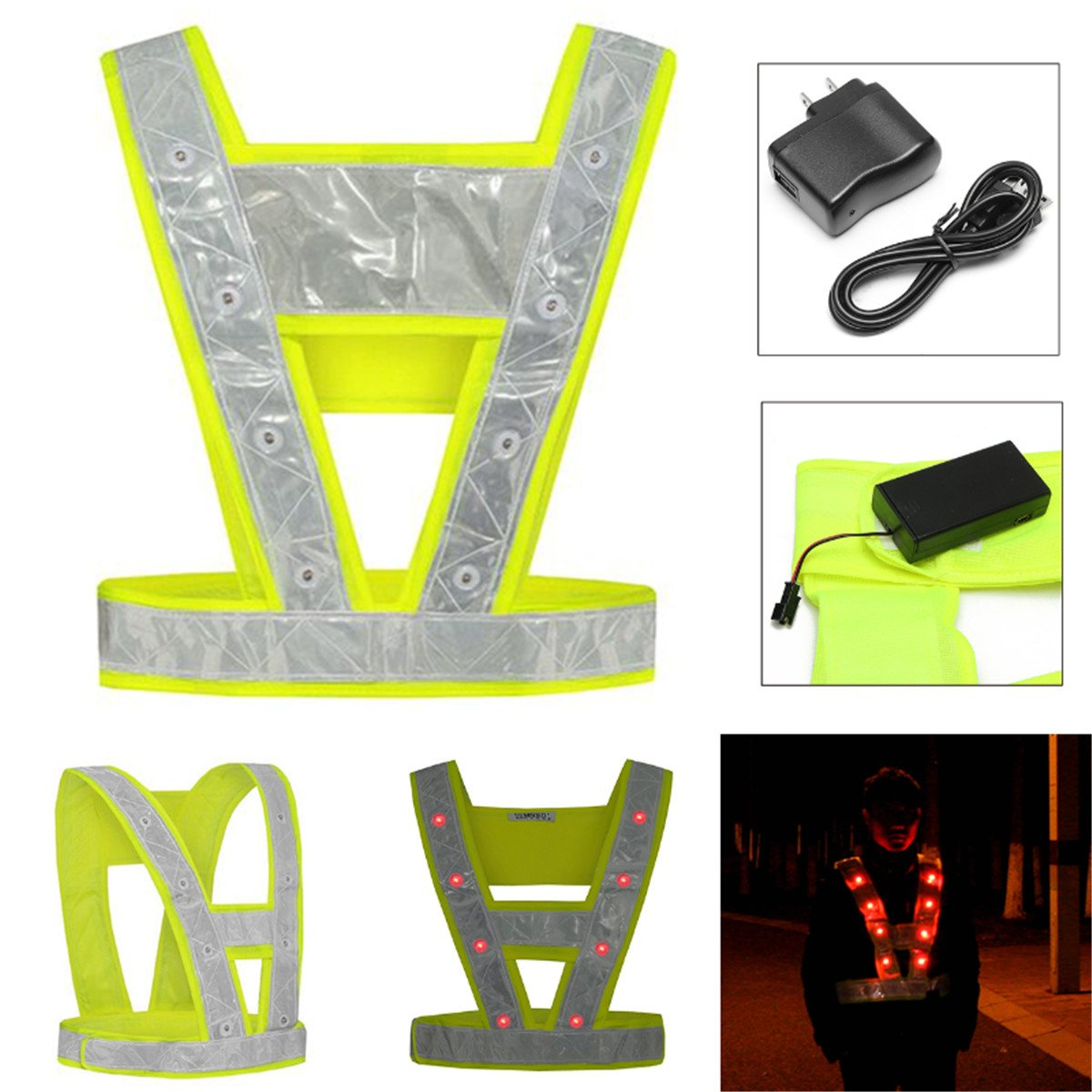 OlogyMart Cycling Running 16 LED Light Up Reflective Stripes Safety Vest High Visibility