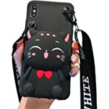 SGVAHY Coin Purse Case Compatible with iPhone XR, Cute Cat Design with Zipper Back Cover Soft Silicone Shockproof Protective