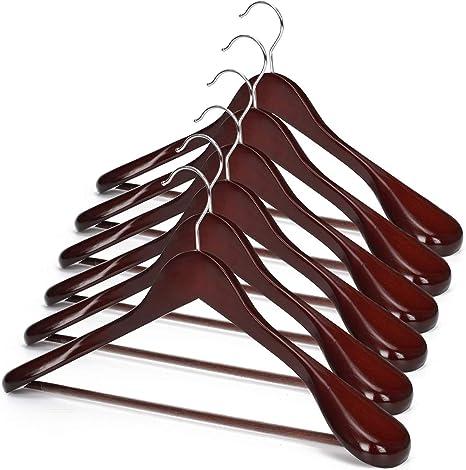 Heavy Clothes Hangers MOTZU 3 Pieces Wooden Suit Hangers Jacket Coat Hangers with Non Slip Pants Bar Luxury Curved Wide Shoulder Wood Hanger for Dress 360/° Swivel Hook