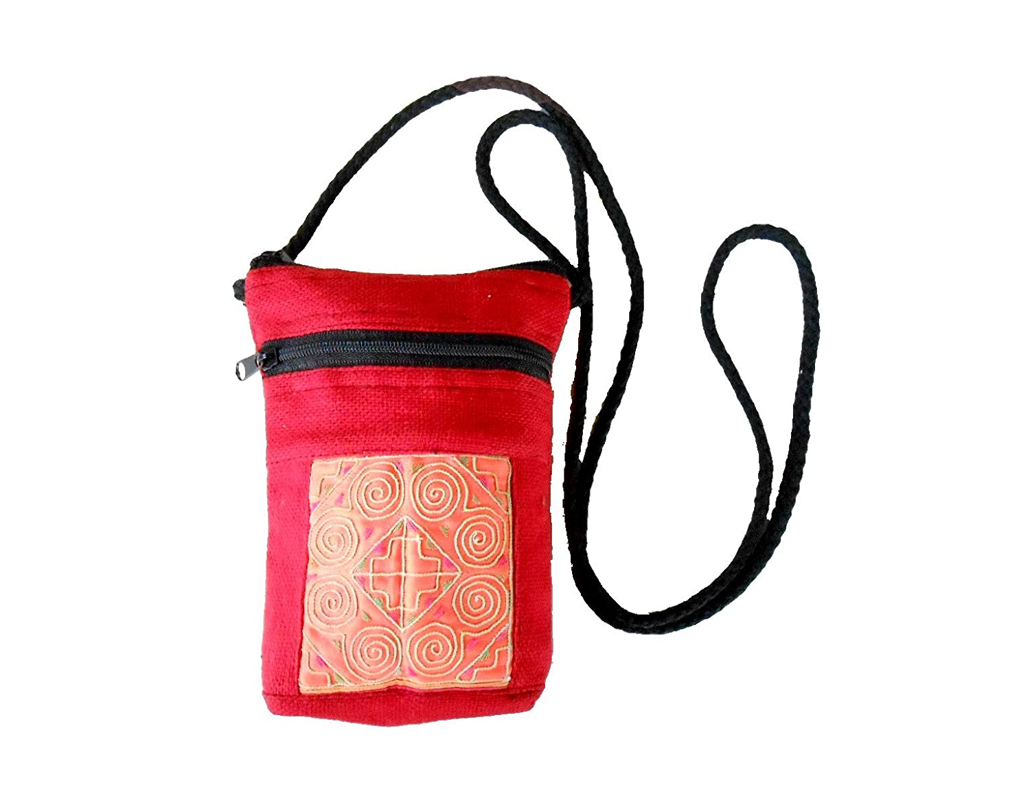 Khum Wieng Kham Women's Red Cell Phone Bag Vintage Hemp Fabric Hand Embroidered Textiles Quilted by Hmong Hill tribe Thailand
