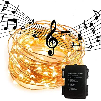 waterproof led string lightssound activated music sync light copper wire fairy lights amzstar 10m