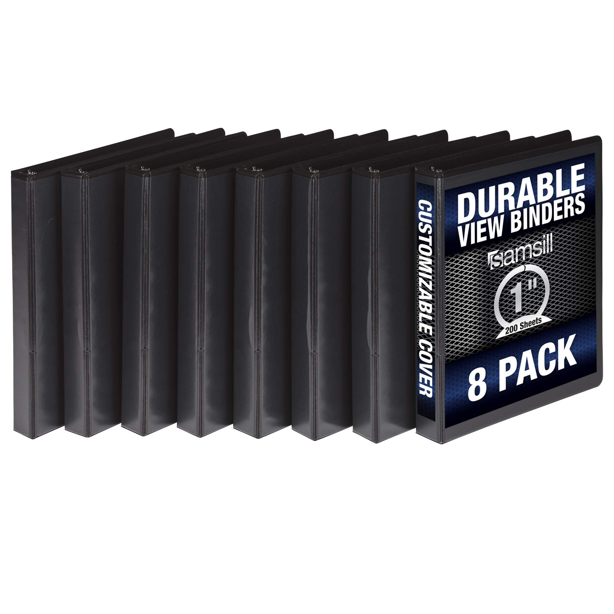 Samsill S88430 3 Ring Durable View Binders - 8 Pack, 1 Inch Round Ring, Non-Stick Customizable Clear Cover, Black by Samsill