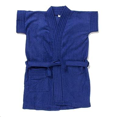 EIO® Soft Baby Boys Girls Cotton Dressing Gown Bath Robe (Blue, 6-12 ...