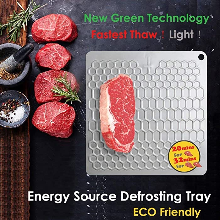 PDair Energy Source Defrosting Tray, The Quicker and Safest Way to Defrost Meat or Frozen Food Quickly Without Electricity, Microwave, Hot Water or Any Other Tools - ECO Friendly (Silver)