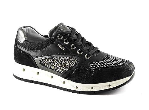 87df0c856855e IGI   CO 77624 plata Negro zapatos de mujer zapatillas de deporte cordones  de cuero de