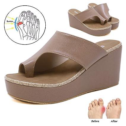 YXH Verano Zapatos de Mujeres Punta Abierta Comfy Plataforma Playa Zapatos Sandal Shoes Corrector de juanetes