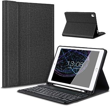 Besmall iPad 9.7 2017/2018 Funda de Teclado con Portalápices, Teclado inalámbrico Bluetooth con Cuero de la PU Cubierta para iPad 9.7 Lanzado en ...