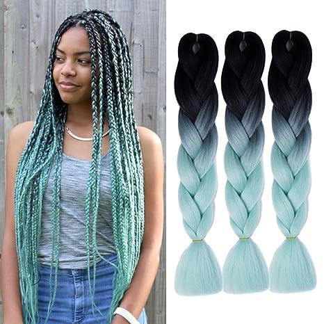 Extensiones de pelo trenzado Jumbo coloridas de Kanekalon sintético para bricolaje crochet caja trenzado Ombre 2