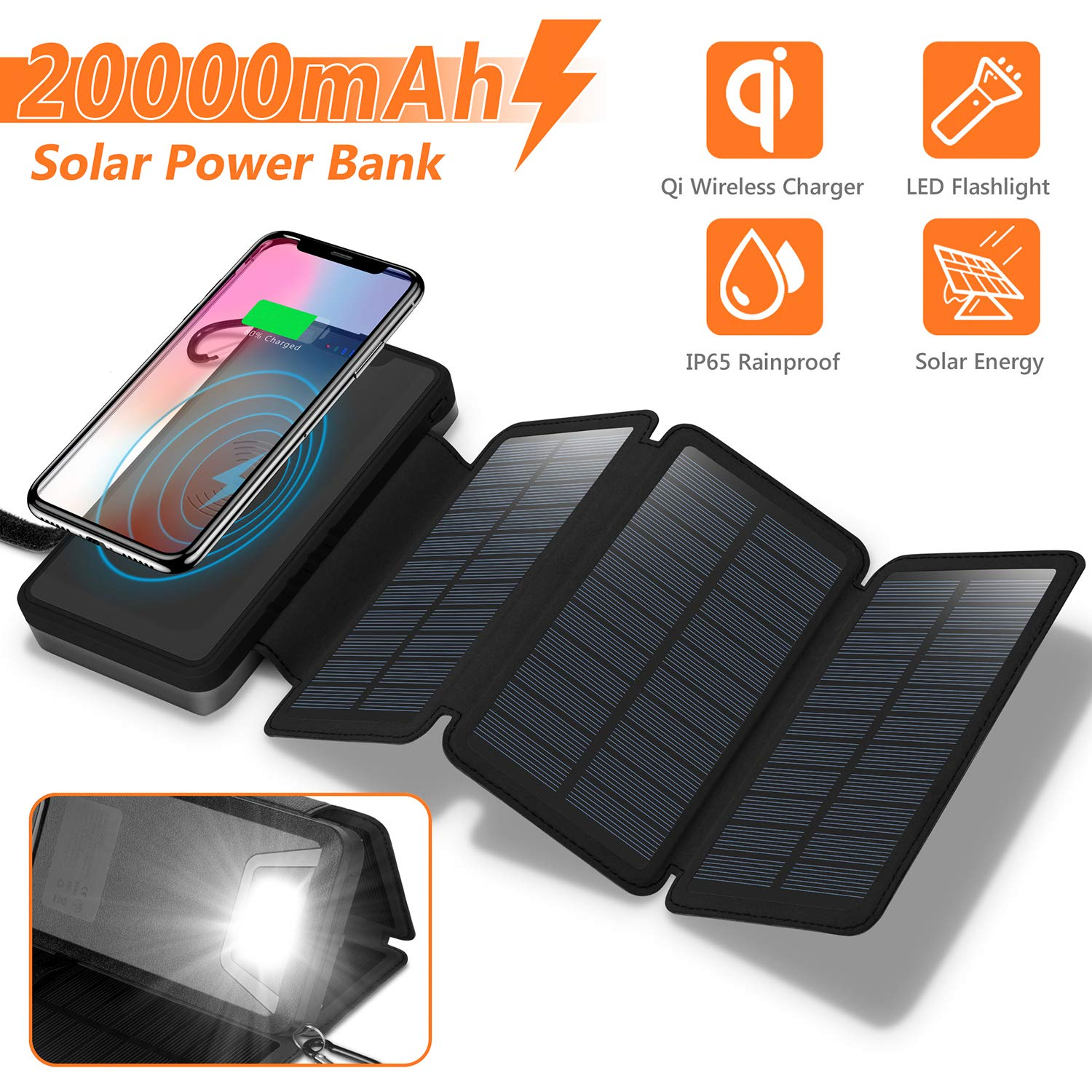 Solar Charger 20000mAh, 4.5W Qi Wireless Charger Portable Power Bank External Battery Back with 3 Solar Panels, Flashlight, Dual 5V/2.1A USB Port, IP65 Rainproof for Camping Hiking Fishing(Black) by NEXGADGET