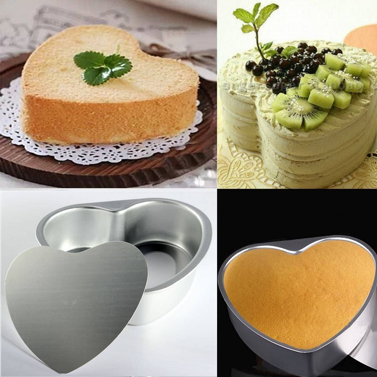 LepoHome 2 pcs Aluminum Heart Shaped Cake Pan Set DIY Baking Mold Tool with Removable Bottom 6 inch /& 8 inch