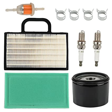 Butom 698754 273638 Air Filter with Oil Fuel Filter for Briggs & Stratton  Intek Extended Life Series V-Twin 18-26 HP John Deere L120 L111 L118 LA120