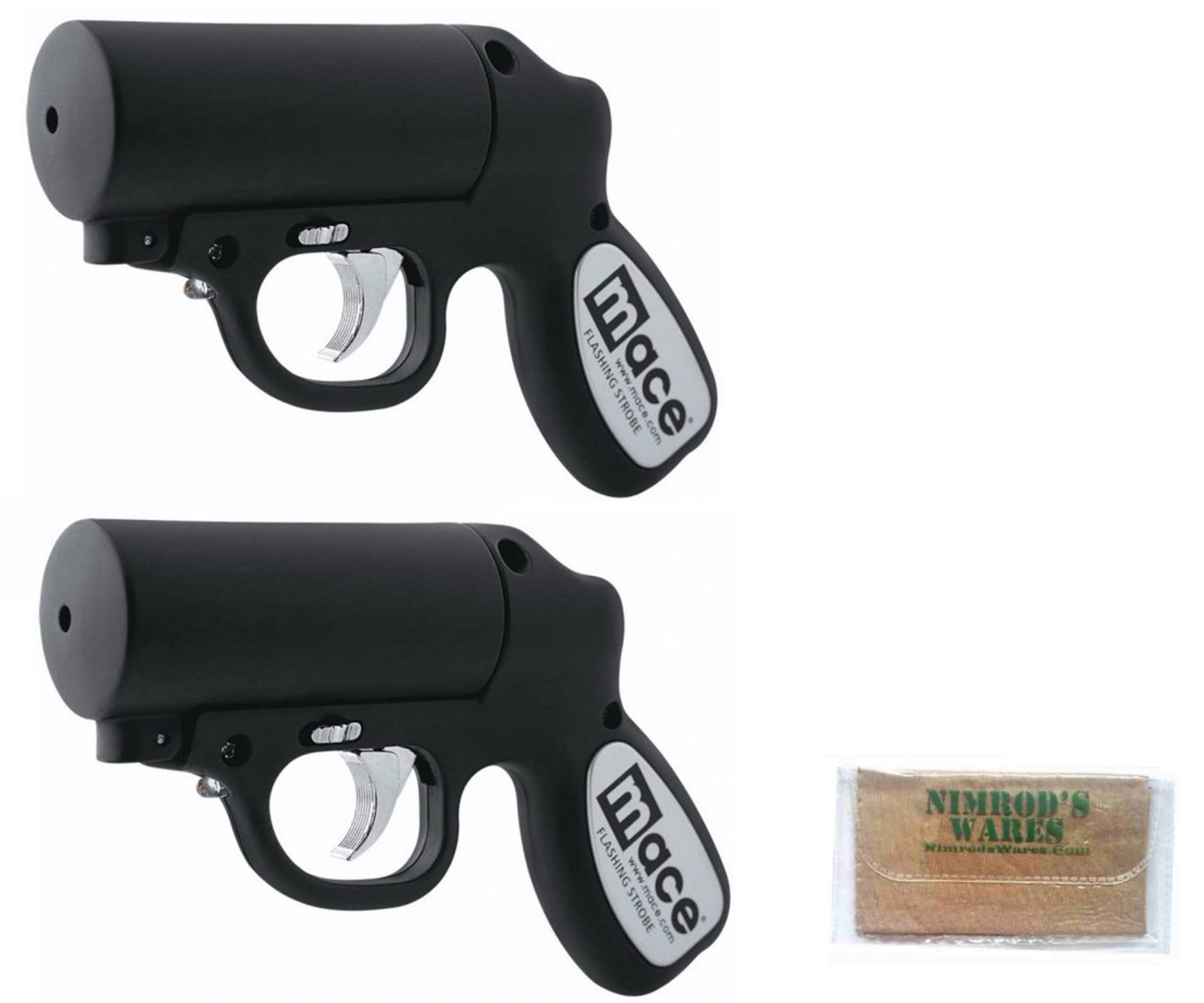 Nimrod's Wares 2-Pack MACE Pepper Gun 20ft. Range Defense Spray Strobe LED Microfiber Cloth