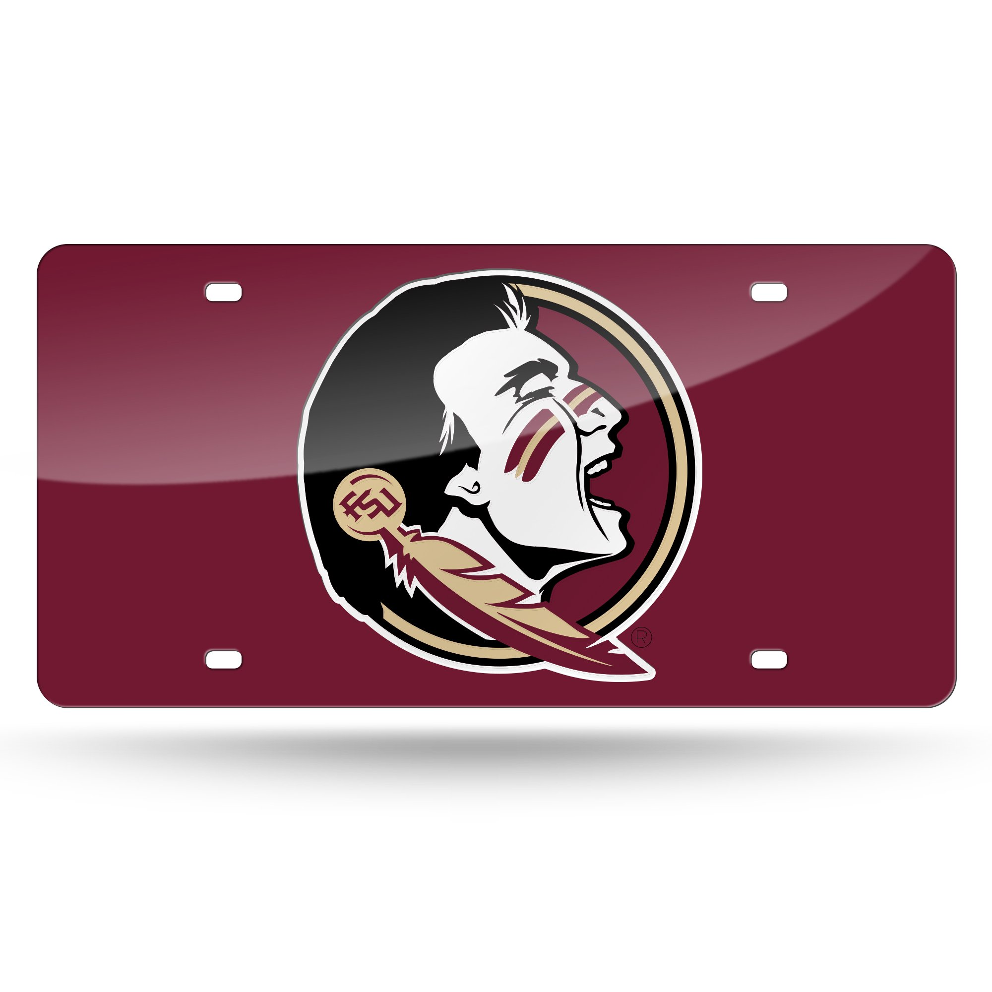 NCAA Florida State Seminoles Laser Inlaid Metal License Plate Tag, 6'' x 12'', Red