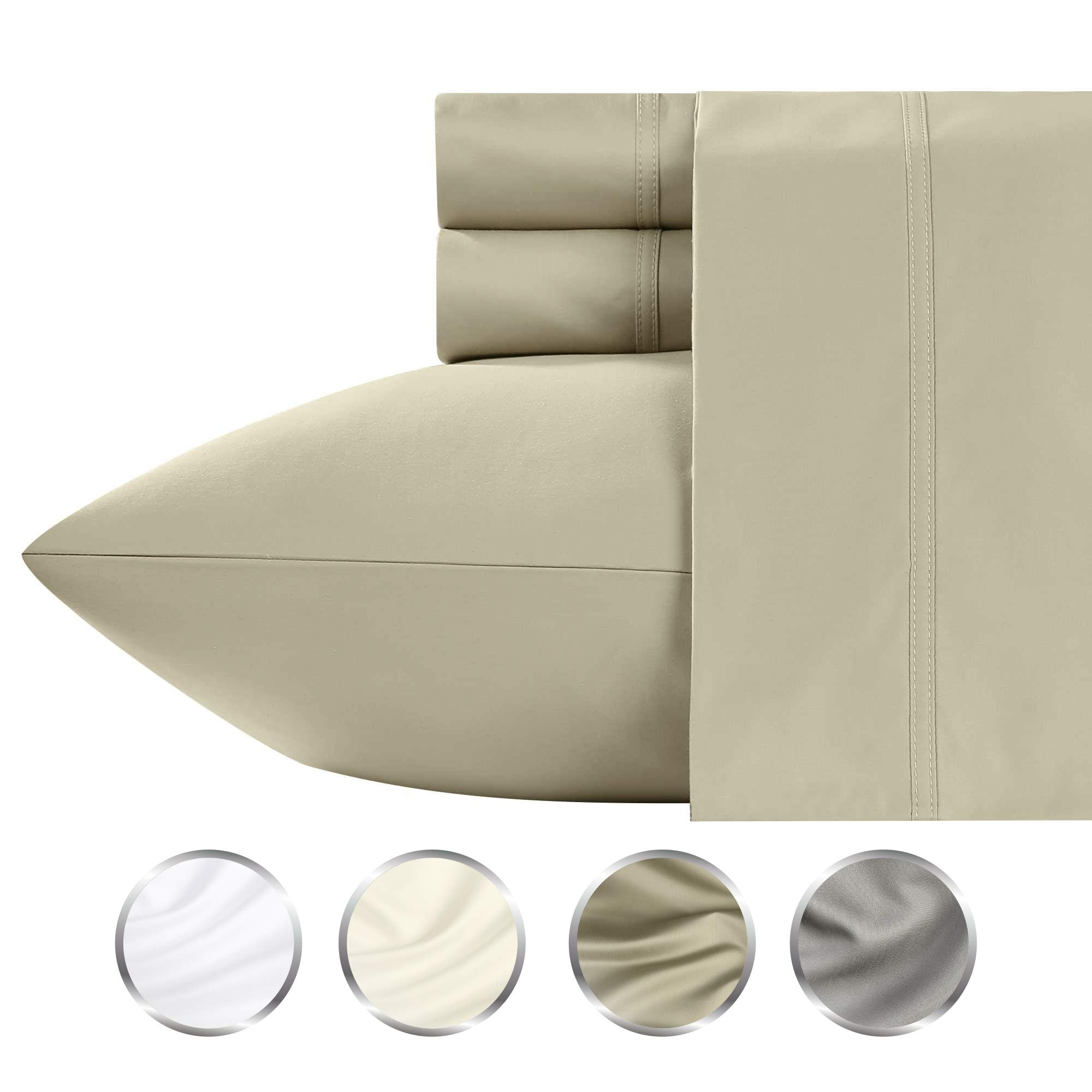 California Design Den High Thread Count Queen Sheets - 1000 TC Taupe 4 Piece Cotton Sheet Set, Deep Pocket Bedding Crafted with Ultra Fine Yarns by California Design Den