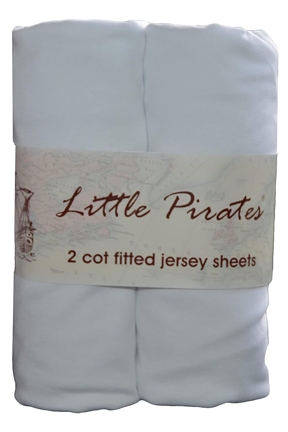 2 x Baby Cot Fitted sheet 60x120 100% Jersey Cotton - White Little Pirates