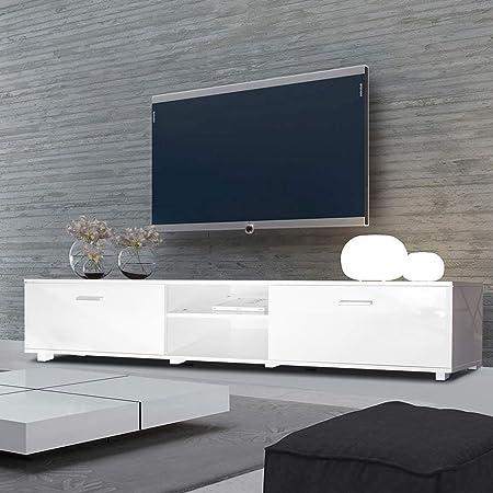 Mueble para televisor Voilamart con espacios para equipo de entretenimiento de salón o dormitorio, de 160/180 cm de largo, color blanco brillante, apto para televisores de hasta 60 pulgadas, Blanco, 160cm/63