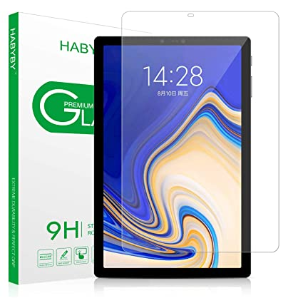 Tab S4 Screen Protector, Habyby Shield [S Pen Compatible] Double Defend  Tempered Glass Screen Protector Film for Samsung Galaxy Tab S4 [10 5