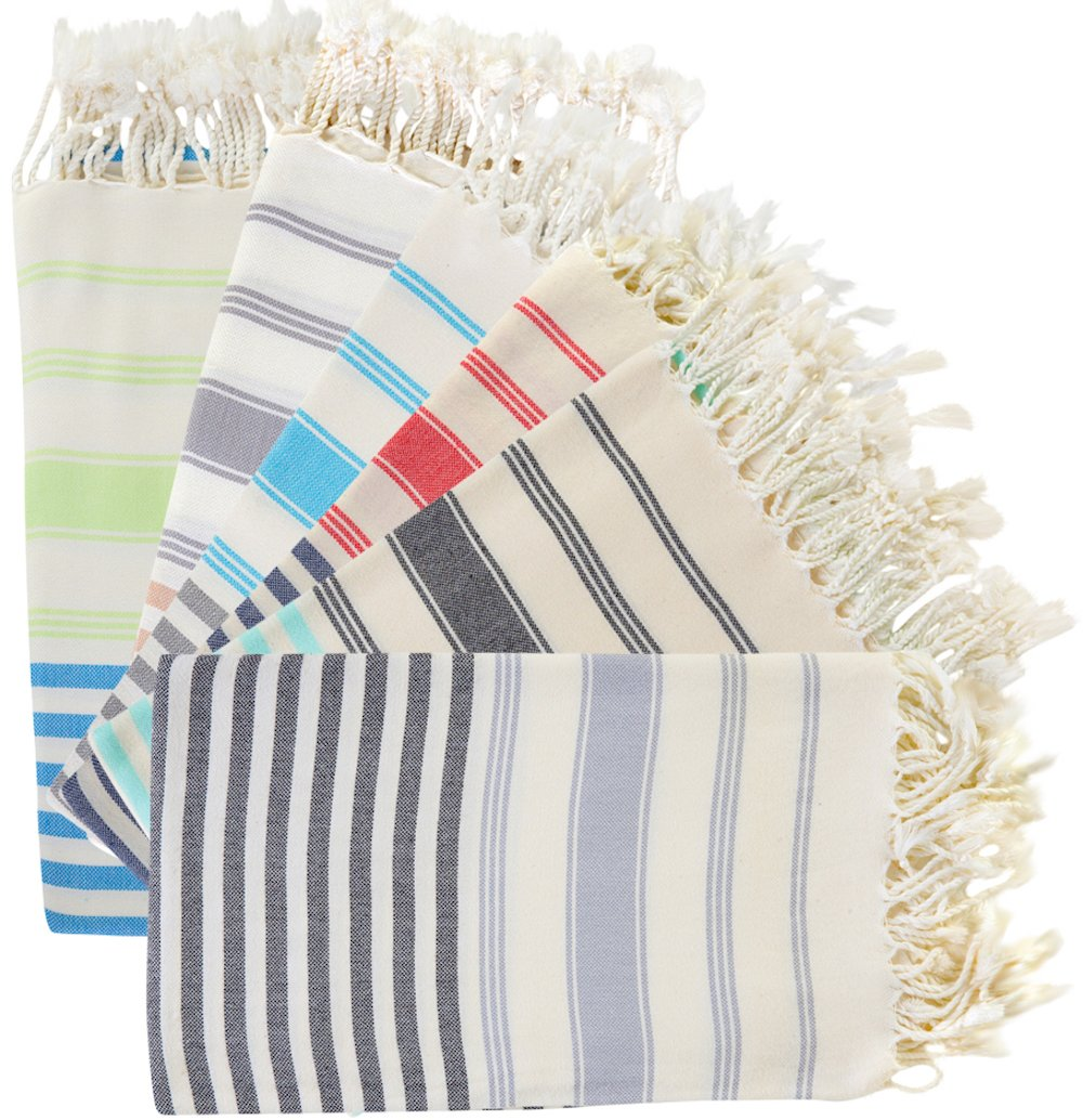 (SET of 6) 100% Turkish Cotton Bath Beach Hammam Towel Peshtemal Throw Foua Blanket Set (Black) BOSPHORUS COMIN16JU025546