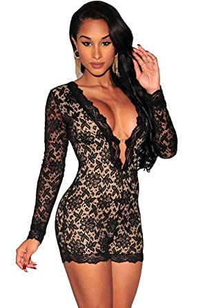 613af022ed Sexy Women s Long Sleeve Lace Playsuit Nude Illusion Overalls with Lining -  black - One size