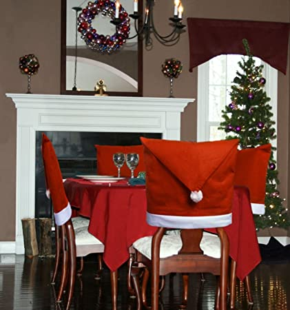 santa hat dining room chair covers set of 6 kitchen christmas decorations indoors - Amazon Christmas Decorations Indoor