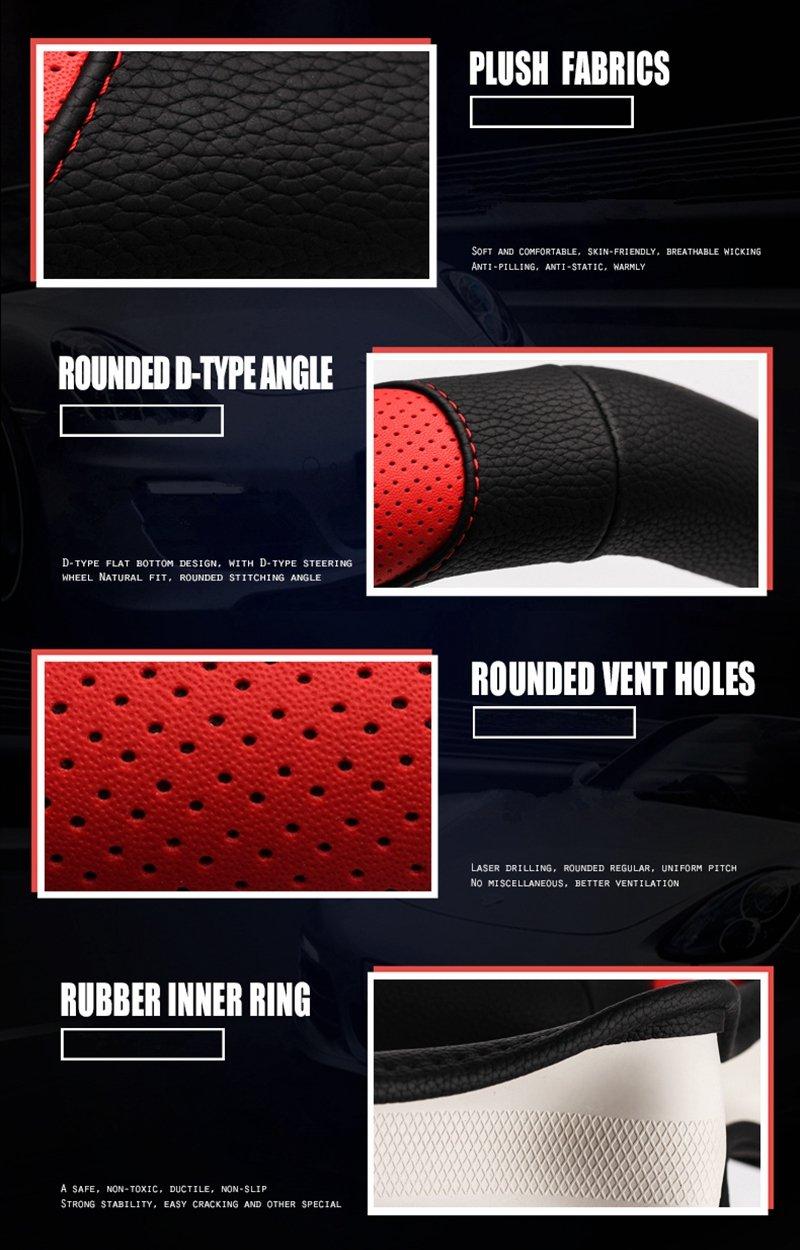 15 HONCENMAX Tipo D Veh/ículo Cubierta del Volante Coche Protector del Volante Universal Di/ámetro 38cm Forma de D Cubierta de Volante de Fondo Plano