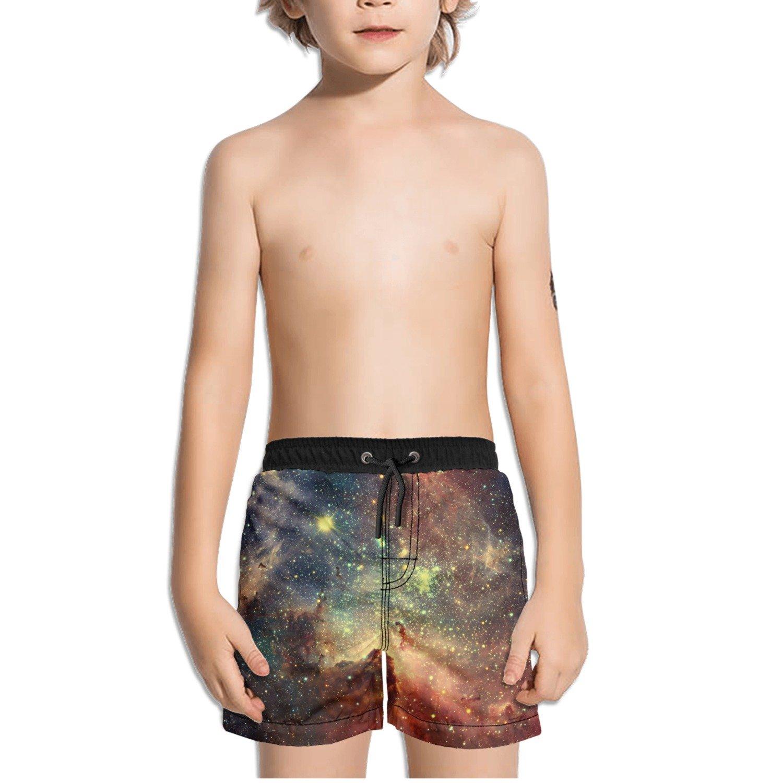 FullBo Beautiful Galaxy Stars Nebula Little Boys Short Swim Trunks Quick Dry Beach Shorts