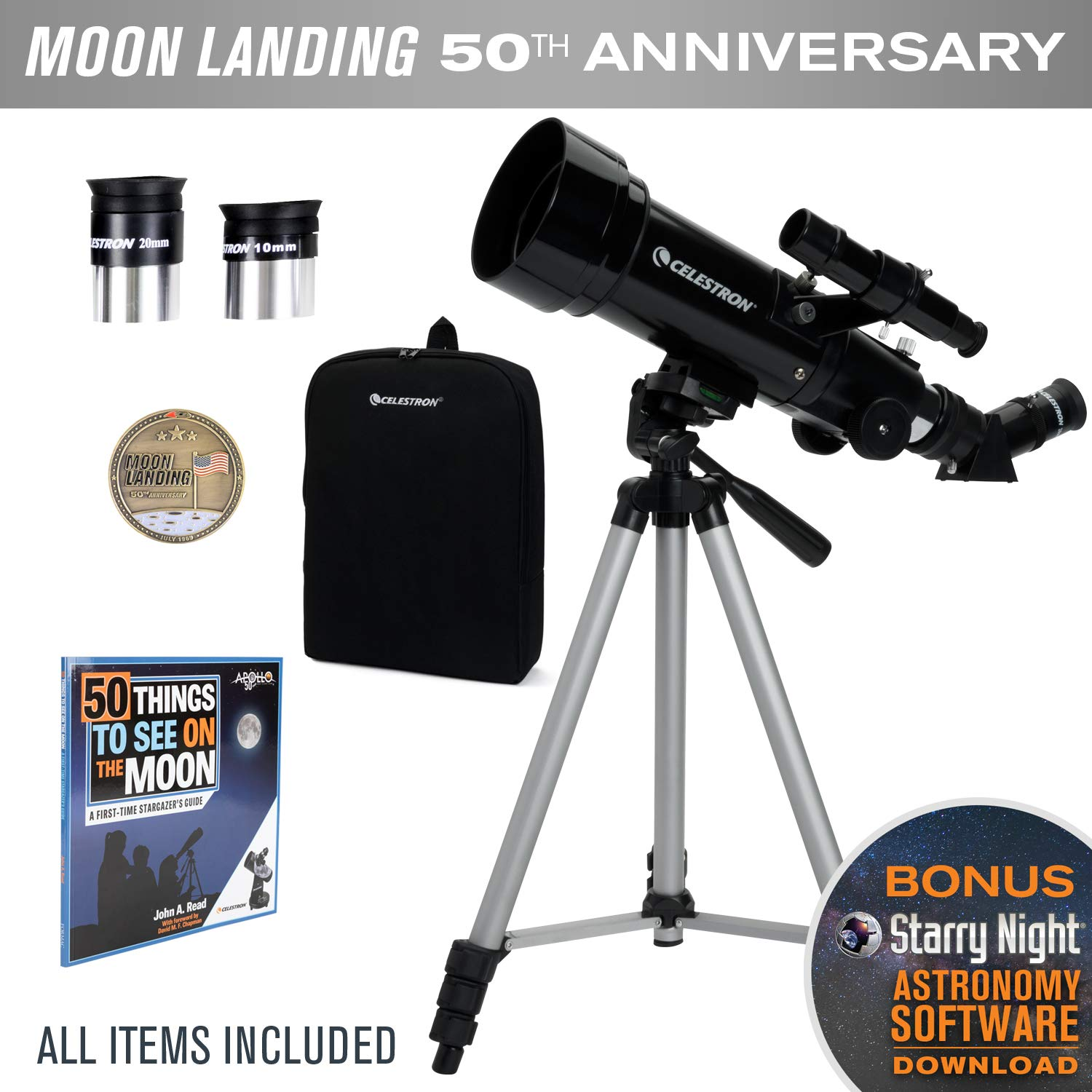 Celestron Travel Scope 70 Telescope - Limited Edition Apollo 11 50th Anniversary Bundle with Commemorative Coin and Book by Celestron
