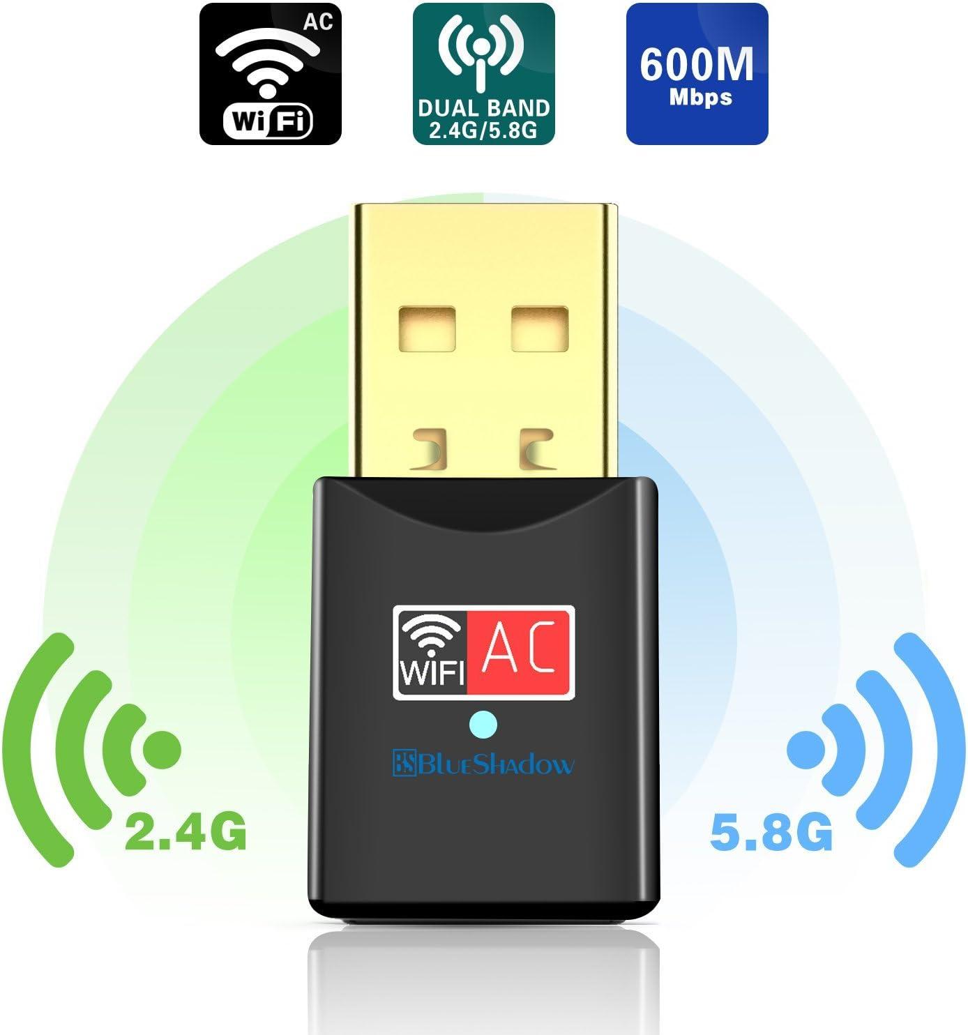 Blueshadow Adaptador USB WiFi 600 Mbps Banda Dual 2.4G / 5G Mini Wi-fi Adaptador de dongle de Red inalámbrica con Antena de Alta Ganancia para PC portátil de Escritorio Soporte de Windows XP