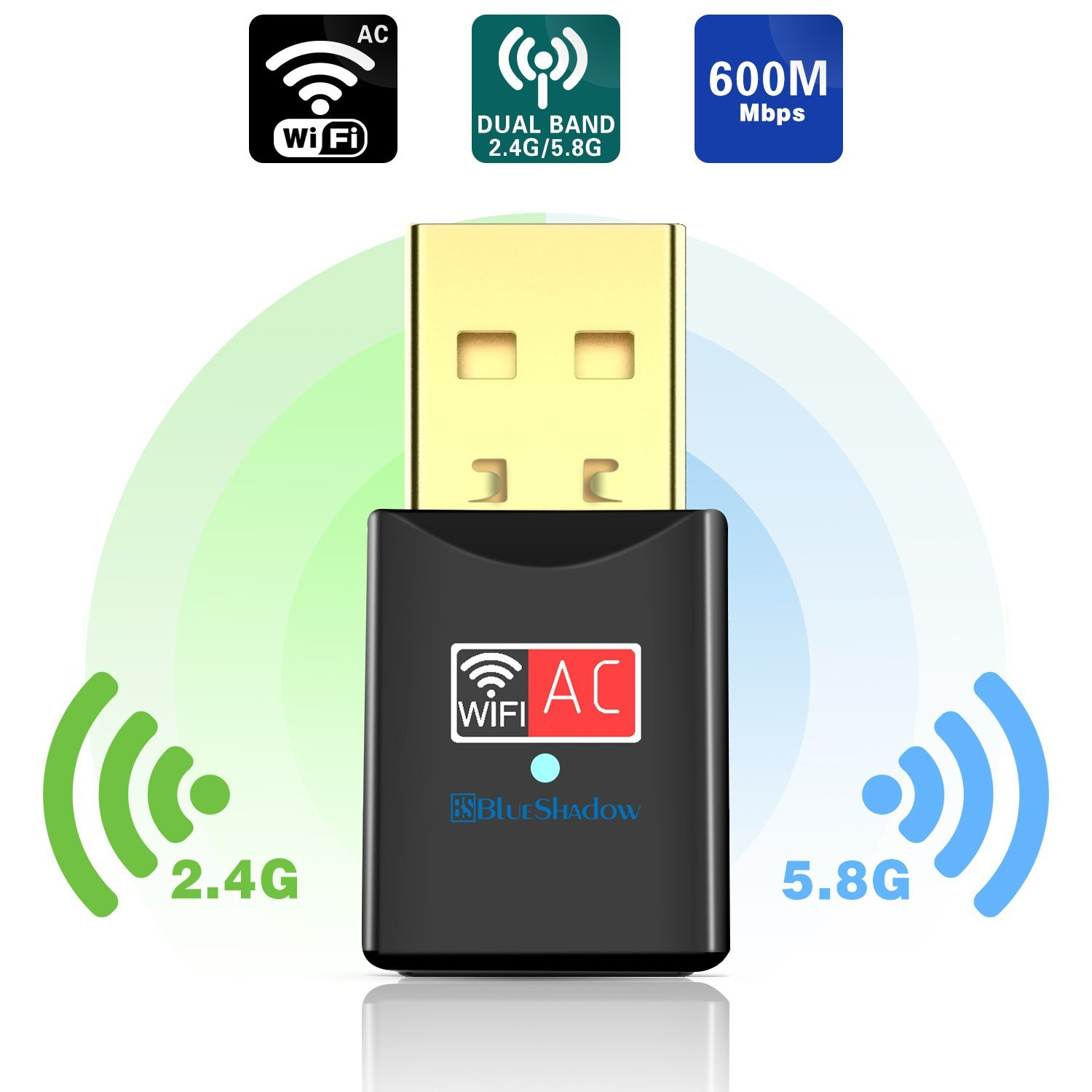 Blueshadow USB Wifi Adapter - Dual Band 2.4G/5G Mini Wi-fi ac Wireless Network Card Dongle with High Gain Antenna For Desktop Laptop PC Support Windows XP Vista/7/8/8.1/10 (USB Wifi 600Mbps) by Blueshadow