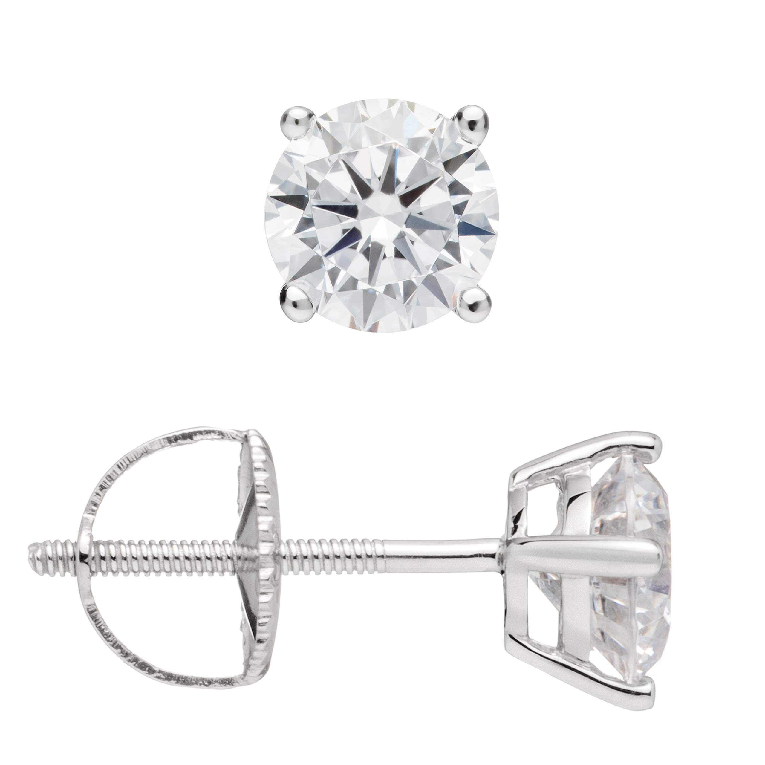 Everyday Elegance | 14K Solid White Gold Round Cut Cubic Zirconia Stud Earrings | 1.0 ctw | Screw Back Posts | With Gift Box