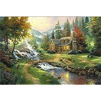 Puzzle House Basswood Jigsaw Puzzle, Cottage On Riverside Por Thomas, Perfect Cut & Fit, 300/500/1000/1500/2000/2700/3000/5000 Piezas Rompecabezas en caja Juguetes Juego Arte Pintura para adultos y ni