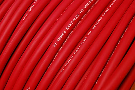 WELDING CABLE 1 AWG 100/' 50/' BLACK 50/' RED FT BATTERY LEADS USA NEW Gauge Copper
