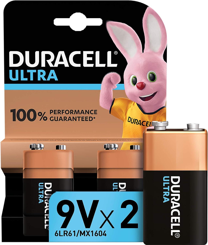 Duracell Ultra 9V con Powerchek, Pilas Alcalinas (paquete de 2) 1.5 Voltios 6LR61 MX1604