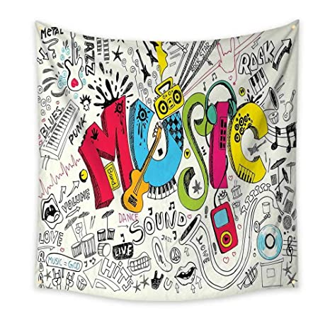 Amazon com: Music Funny Tapestry Pop Art Featured Doodle Style