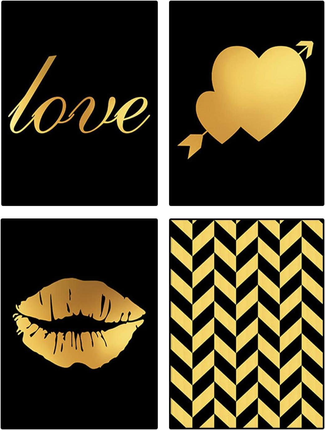 "Modern Minimalist Fashion Women Black Gold Bronzing Lips Love Stripe Posters Painting Set of 4 (8""X10'' Canvas Picture) Woman Girl Room Decor Bathroom Spa Room Art Prints Home Decor Unframed"