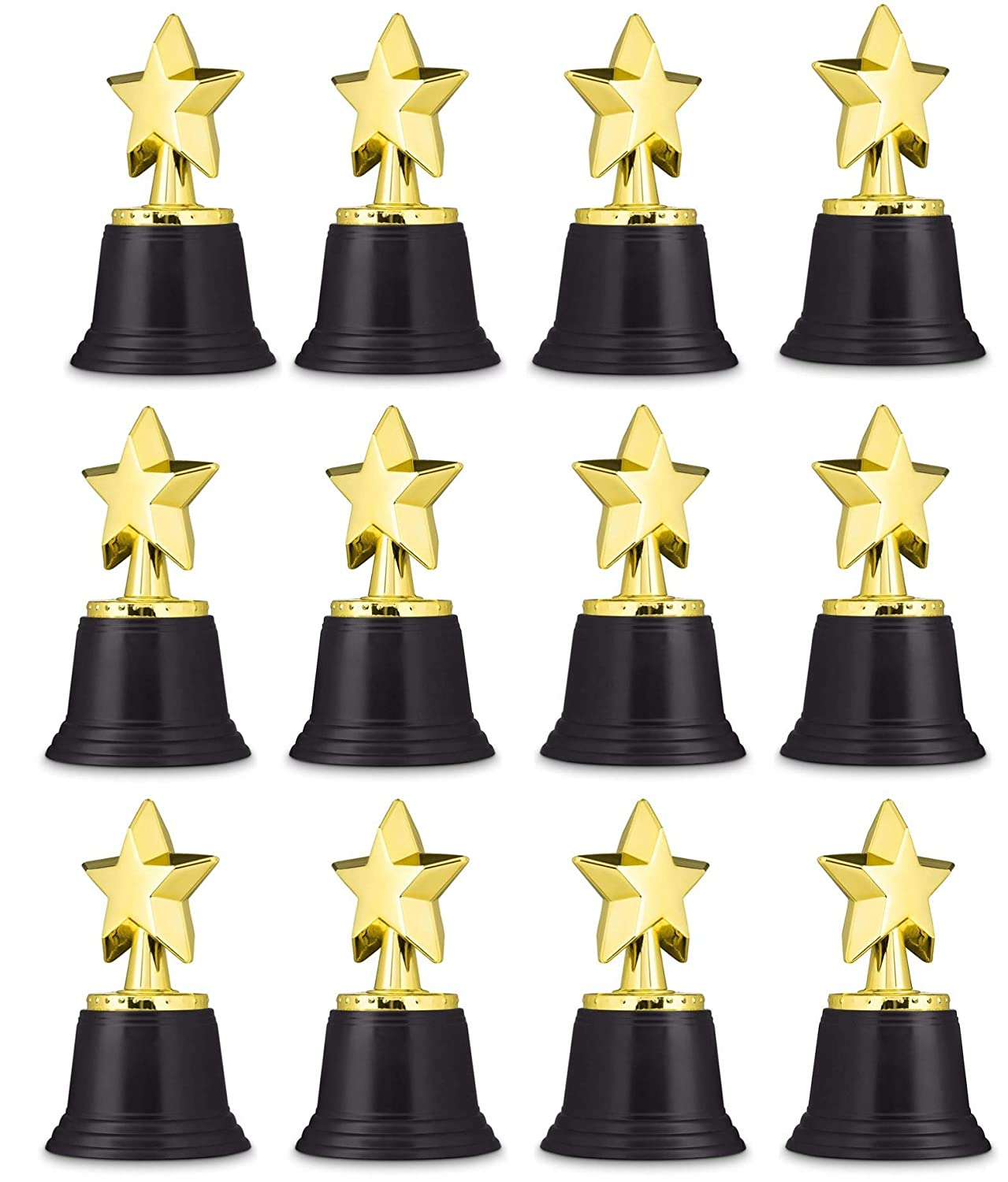 "Neliblu Star Gold Award Trophies 4.5"" Gold Star Trophy for Awards, Winners, Oscar Awards and Hollywood Parties Bulk Pack of 12"