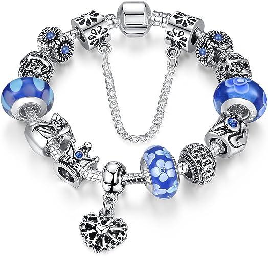 Charm BRACELET Snake Chain Harry Potter Inspired Blue Metallic Beads Fan Gift