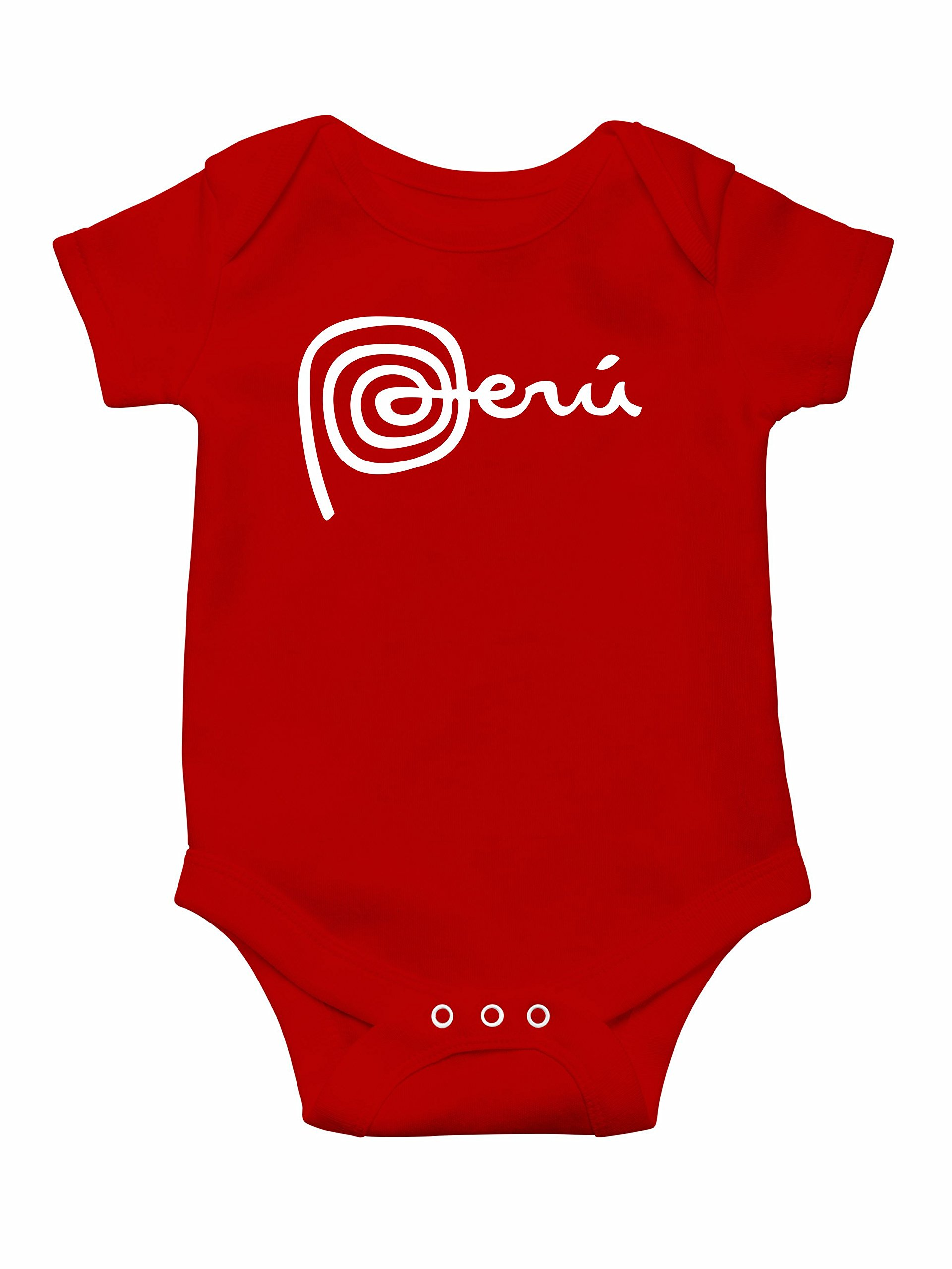 Hot4TShirts Marca Peru Creeper Bodysuit for Babies (6 Months, Red)