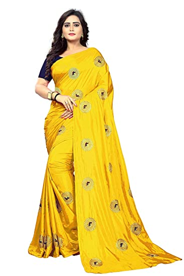 1282405071f047 Limedeal Women s Sana Silk Saree With Blouse Piece (YellowMore Sana)  Amazon .in  Clothing   Accessories