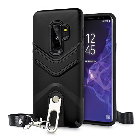 pick up f04cd 41808 Olixar Samsung Galaxy S9 Plus Lanyard Case - Tough Armor Cover Vulcan -  Dual Layered Rugged Protection - Built in Kickstand - Wireless Charging ...