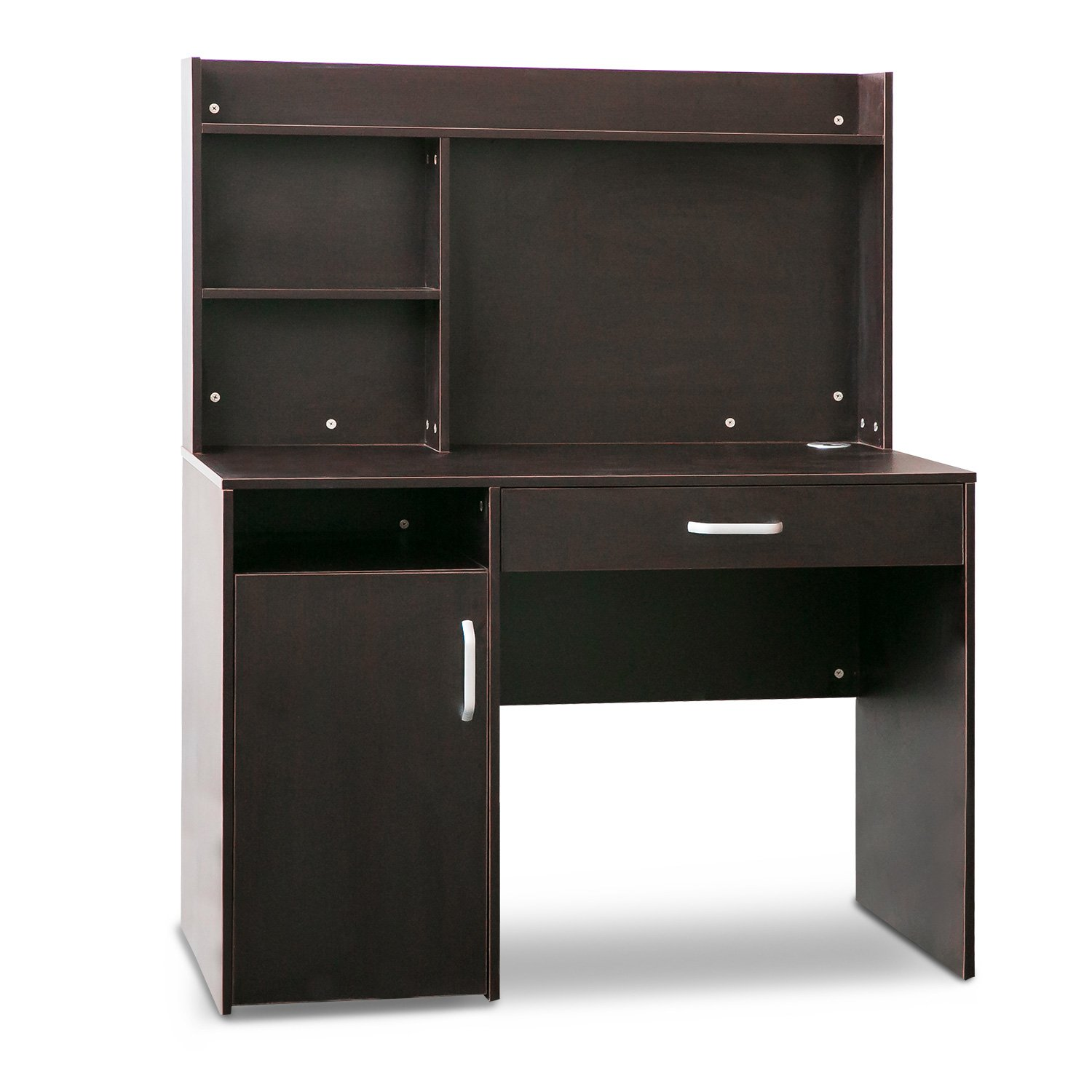 Merax Home Office Computer Desk with Hutch and Bookshelves (Dark Brown)