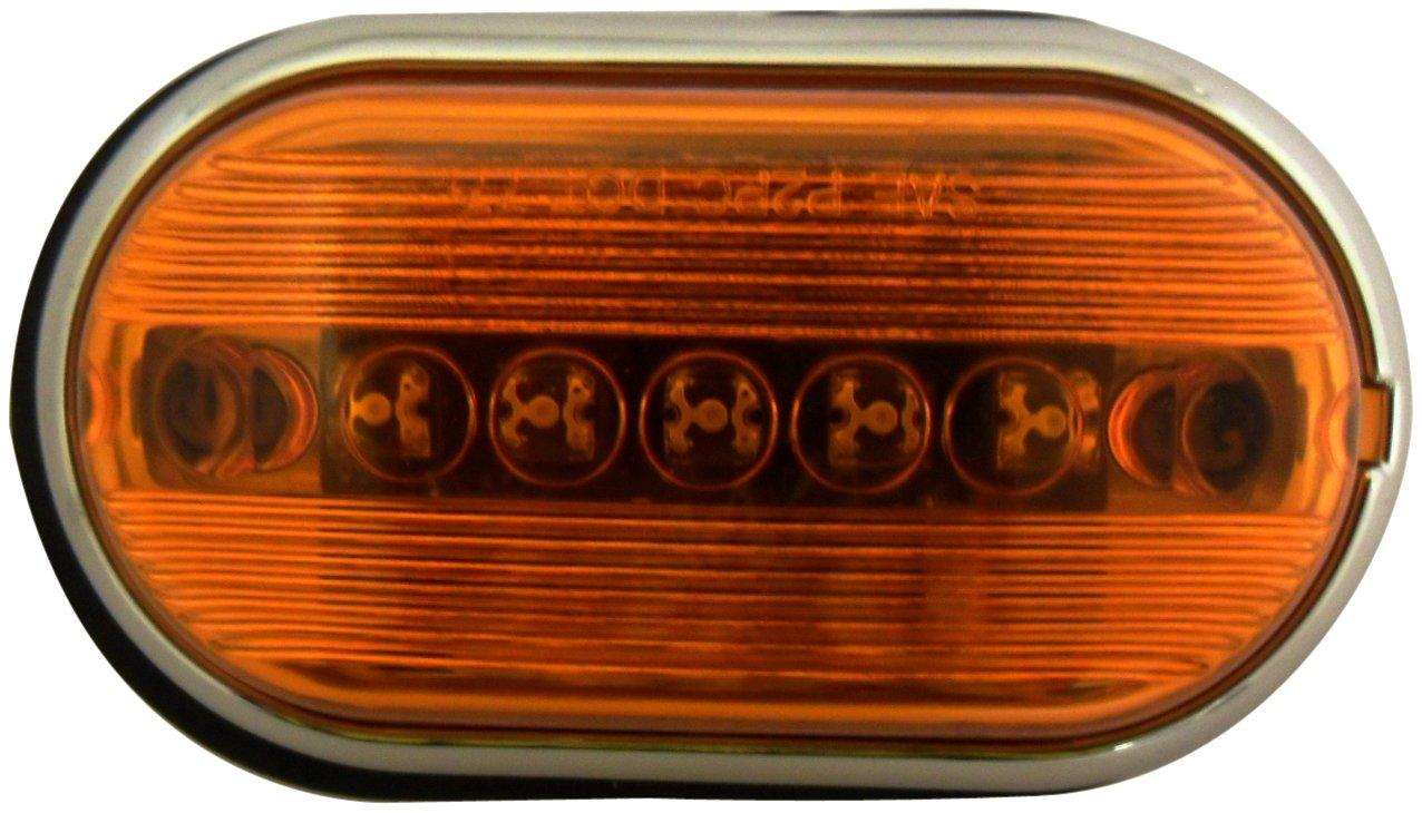 AutoSmart KL-15110AM Amber Oblong LED Side Marker Light with Chrome Housing