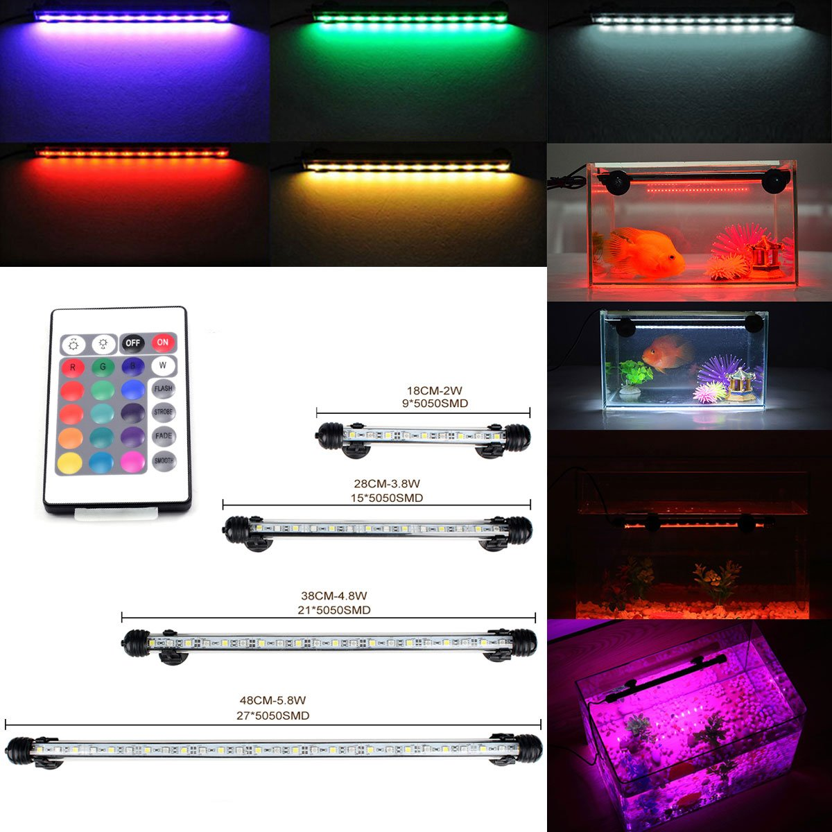 GreenSun 28CM Aquarium Light RGB Remote Colour Changing LED Fish Tank Light Underwater Submersible Crystal Glass Lighting