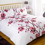Dreamscene Beautiful Collette Floral Duvet Half Set with Pillowcases, Pink, Double