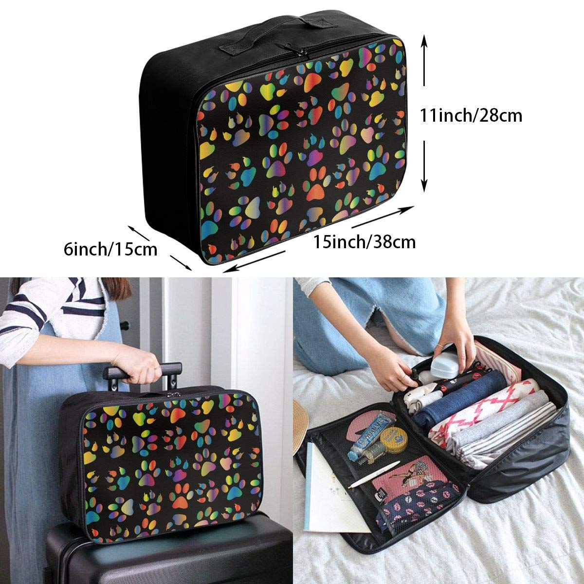 YueLJB Colorful Paw Print Lightweight Large Capacity Portable Luggage Bag Travel Duffel Bag Storage Carry Luggage Duffle Tote Bag