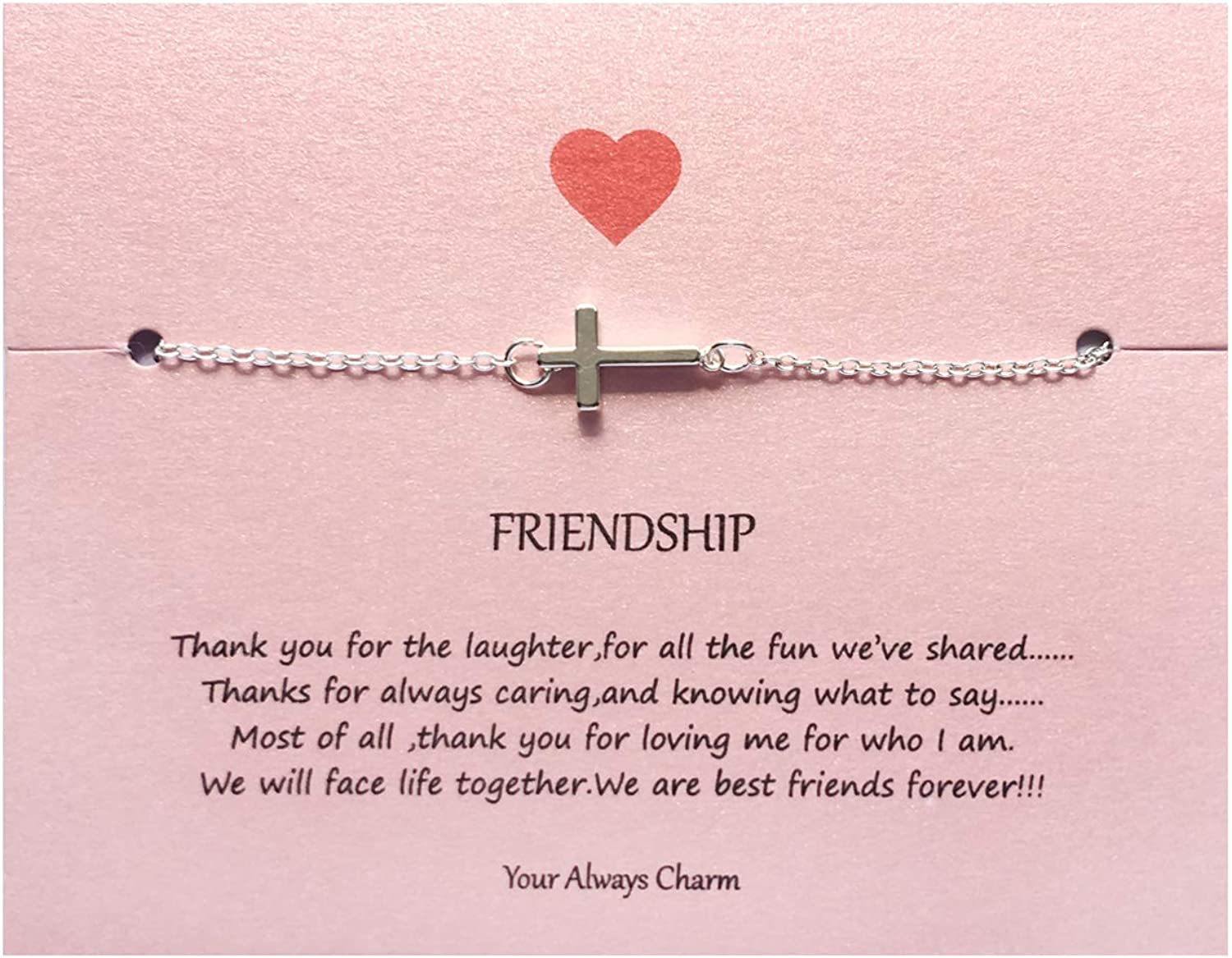 Your Always Charm Faith Cross Bracelet,Religious Meaningful Gifts for Best Friend