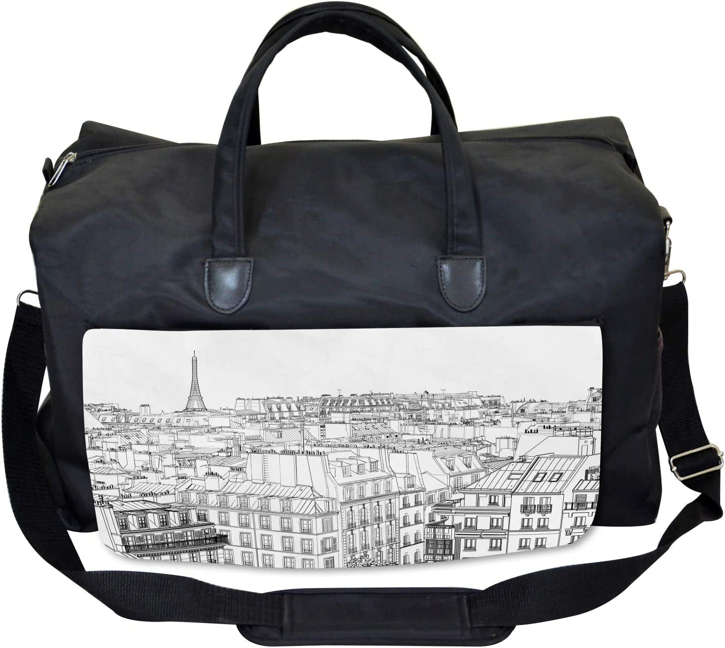 Roofs in Paris and Eiffel Ambesonne Paris Gym Bag Large Weekender Carry-on