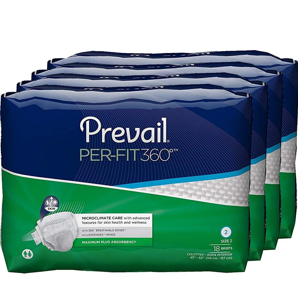 Prevail Per-Fit 360 Degree Maximum Plus Absorbency Incontinence Briefs, Size 2, 72