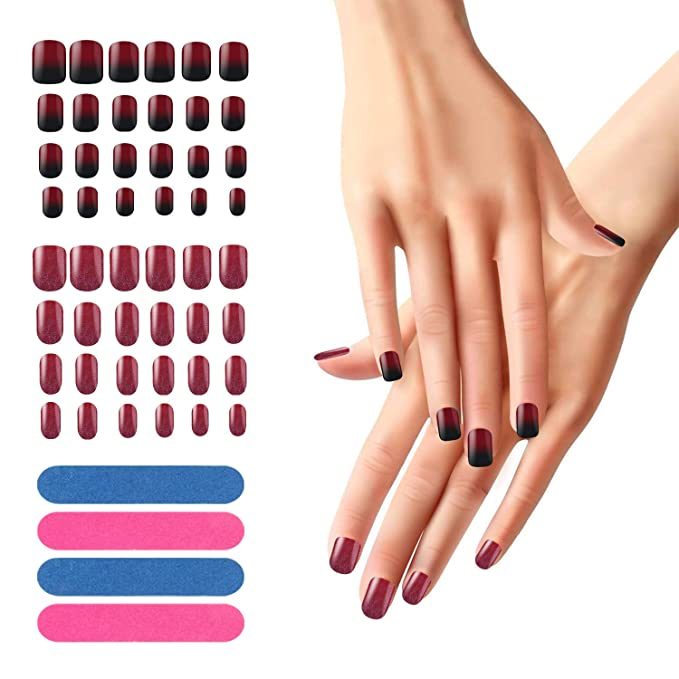 Juego de 48 uñas postizas, Segbeauty Full Cover Manicure Nail Fake Tips Rojo negro degradado brillo Artificial Nails Starter Kit de bricolaje con 4pcs Nails ...