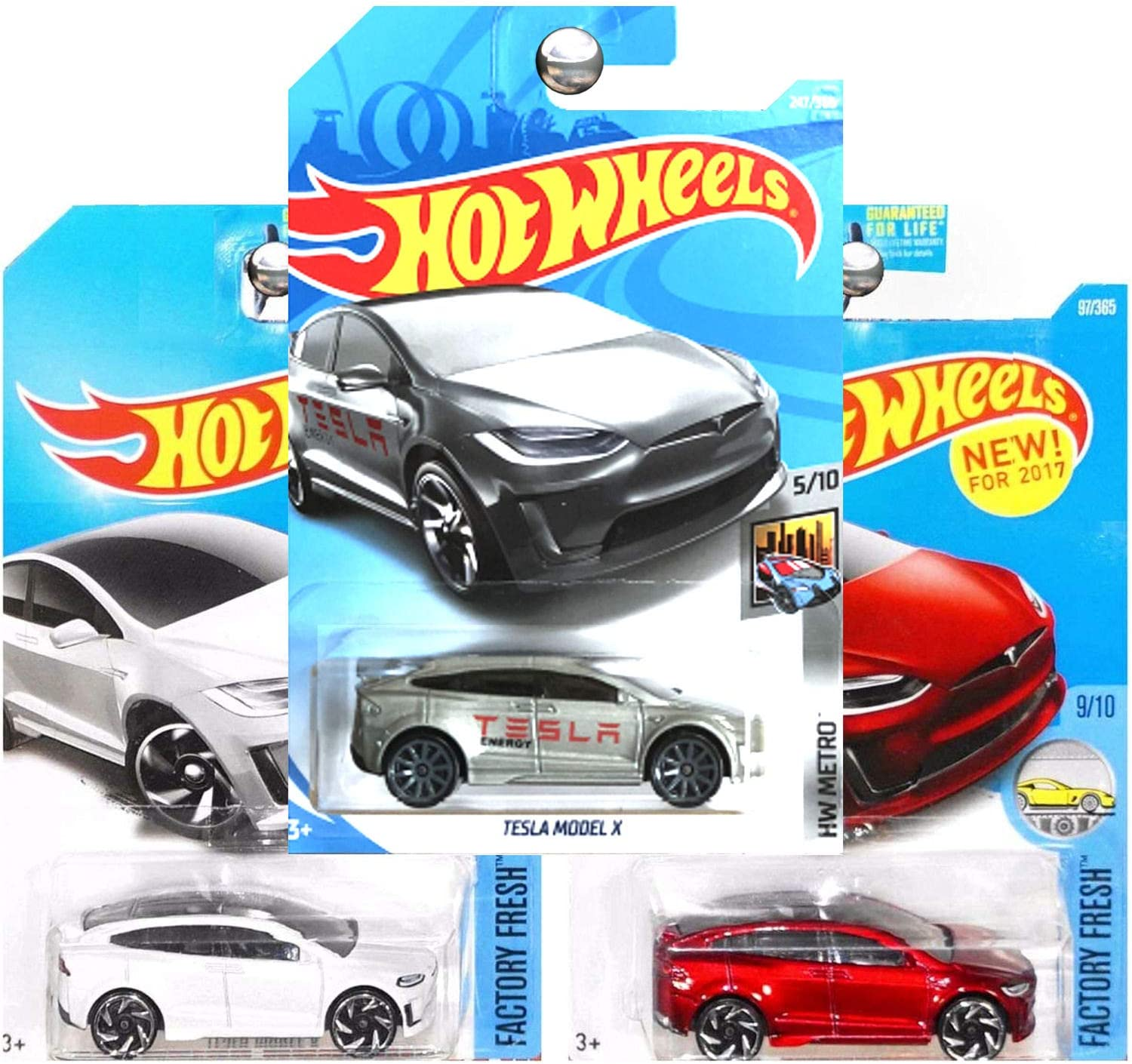 Amazon Com Hot Wheels Tesla Model X Electric Suv Red White Silver Set Of 3 Toys Games